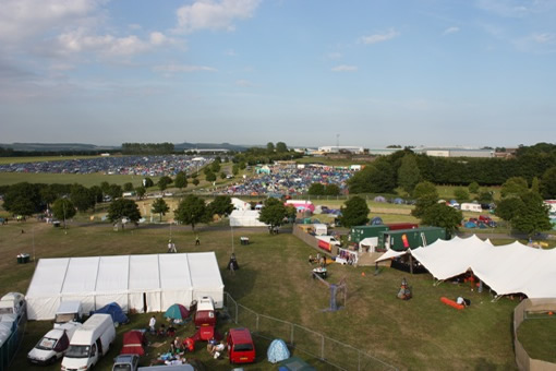An aerial view of the campsite