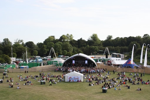 An aerial view of the main stage