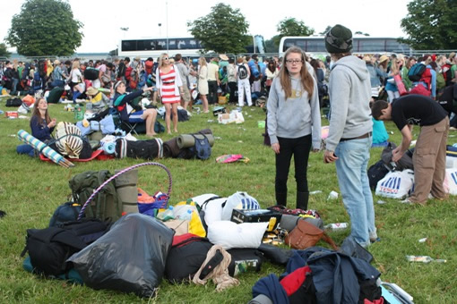 Some festival-goers faced waits of up to two hours on arrival