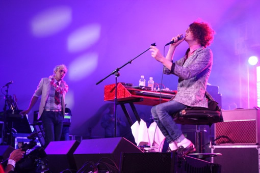 Sitting down, but not lacking energy - the Mystery Jets went down a storm
