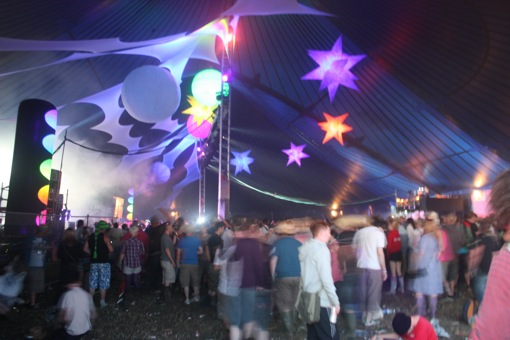Inside the East Dance tent